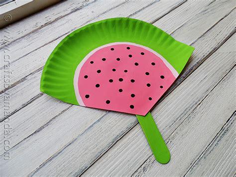 watermelon paper craft paper plate watermelon fan crafts by amanda