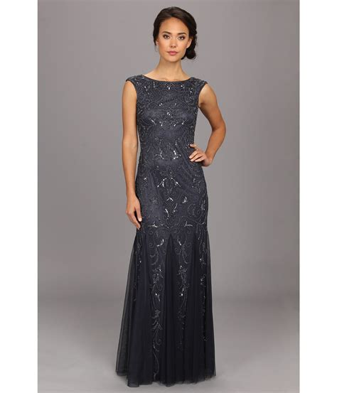 beaded cap sleeve gown papell cap sleeve beaded gown charcoal zappos