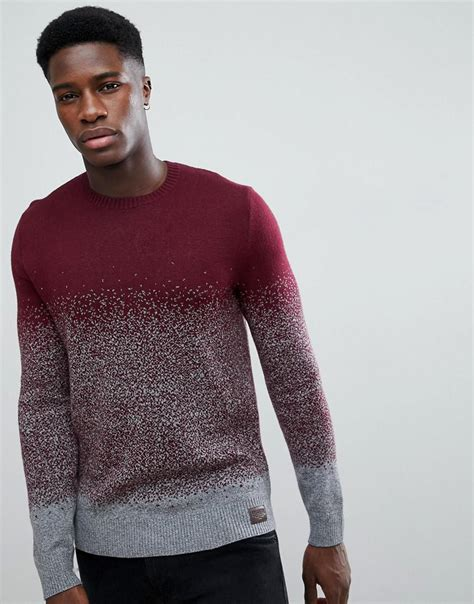 hollister knitted jumper hollister crew neck knit jumper in burgundy grey ombre in