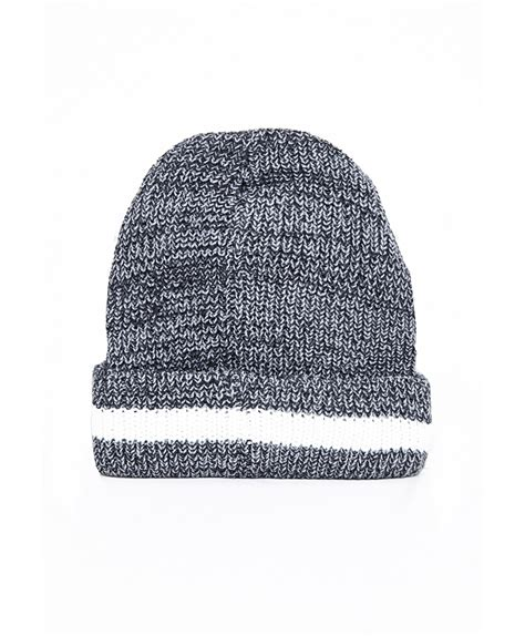 grey knit beanie missguided hana chunky knit stripe beanie hat grey in gray