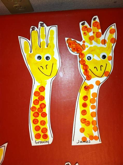 animal craft for giraffe handpint i painted the students arm and