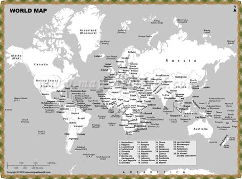 Printable World Map With Countries And Cities