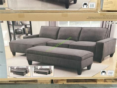ottoman sectional fabric sectional with storage ottoman costcochaser