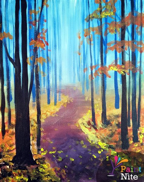 paint nite ideas paint nite a walk in the fall