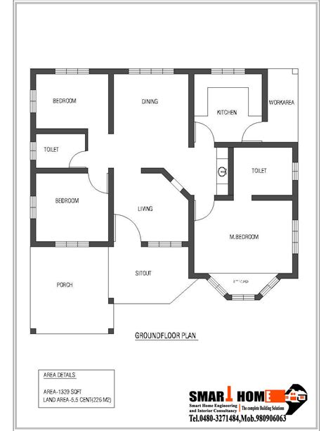 house plans in kerala with 4 bedrooms 1320 sqft kerala style 3 bedroom house plan from smart