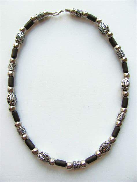 mens beaded necklaces vintage tribe beaded s necklace chrome