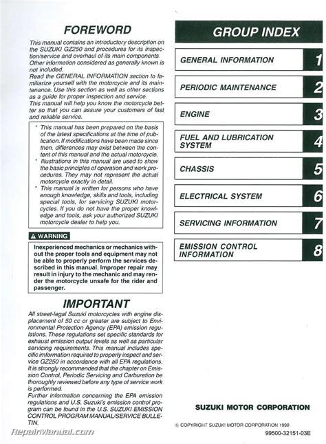 Suzuki Gz250 Manual by 1999 2010 Suzuki Gz250 Marauder Motorcycle Service Manual