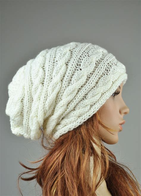 how to knit a cap knit hat cable pattern hat in slouchy hat