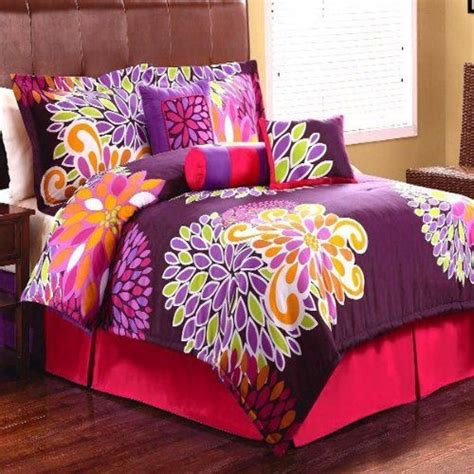 rage comforter set flower show purple 7 king comforter set by pem