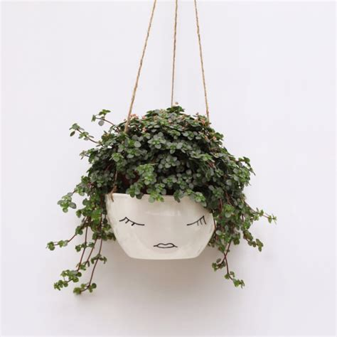 white hanging planter white ceramic hanging planter plant pot character