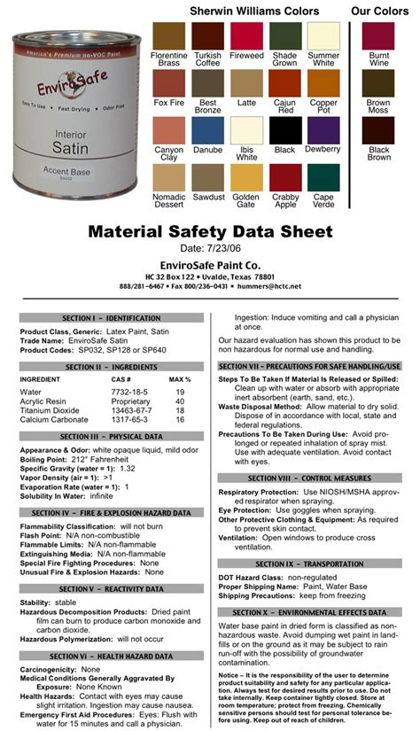 acrylic paint msds note colors vary on different browsers therefore the