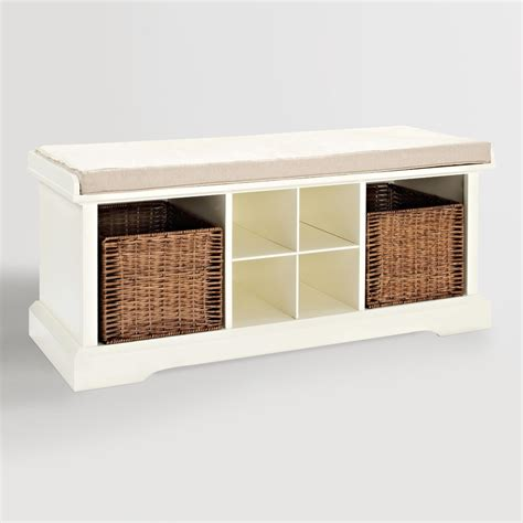 white entryway bench white wood emlyn entryway storage bench world market
