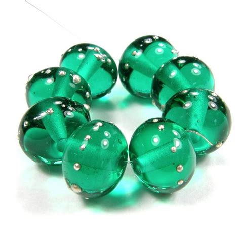 the glass bead shiny glass bead transparent light teal handmade lwork