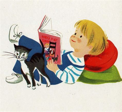 picture book illustrator vintage children s book illustration boy and cat reading