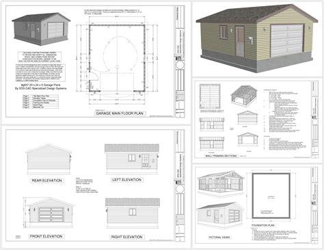 plans for building a garage g507 20 x 24 x 8 garage plans sds plans