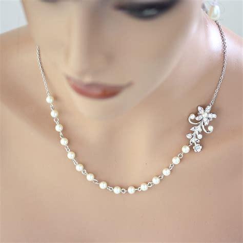 pearl for jewelry pearl bridal necklace vintage wedding rhinestone flower leaf