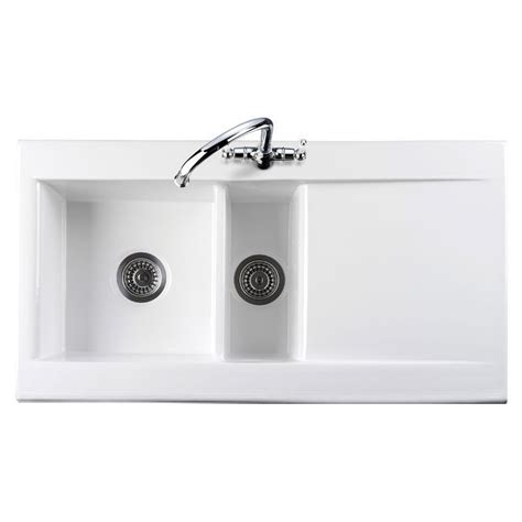 white ceramic kitchen sink 1 5 bowl rangemaster nevada cnv2 1 5 bowl ceramic kitchen sink
