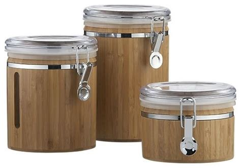 storage canisters kitchen bamboo clip canisters contemporary kitchen canisters and jars by crate barrel