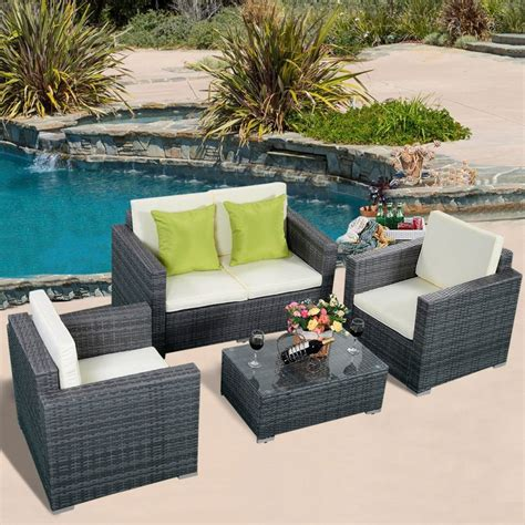gray patio furniture sets furniture pc rattan patio furniture set garden lawn sofa cushioned seat gray all weather wicker