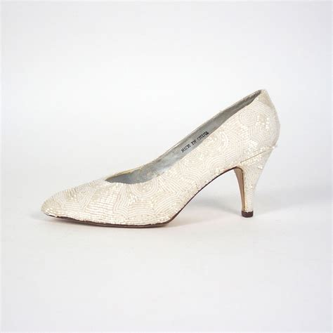 beaded pumps white beaded pumps