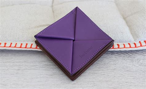 origami coin purse origami leather coin purse row brown and ultra violet