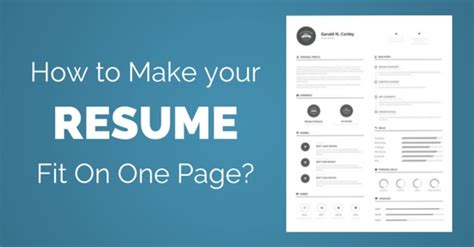how to make a page make resume fit one page