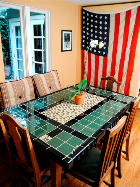 Mosaic Dining Room Table create a mosaic tile tabletop hgtv