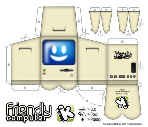 craft computer paper friendly computer papertoy by beraka on deviantart