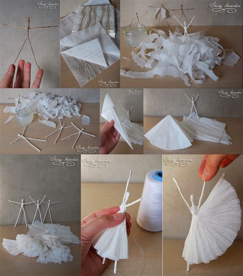 craft ideas with paper napkins diy paper napkin ballerinas diy craft projects