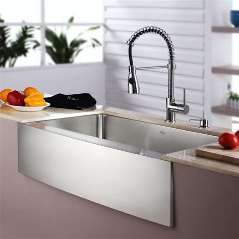 kitchen sink and faucet combinations kraus kitchen combo 33 quot x 20 quot single bowl farmhouse stainless steel kitchen sink with faucet