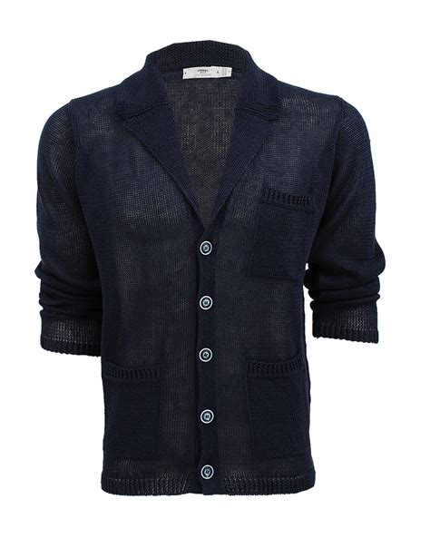 knitted jacket mens inis me 225 in mens linen knit jacket in blue for ardee