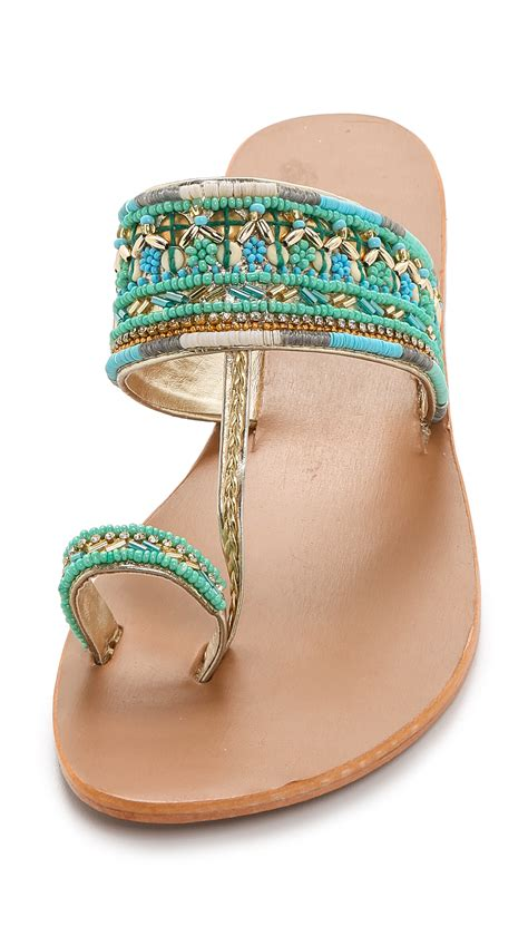 turquoise beaded sandals mela sabri beaded sandals turquoise in blue lyst