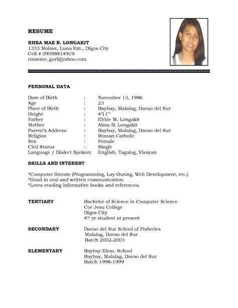 examples of resumes example resume format view sample