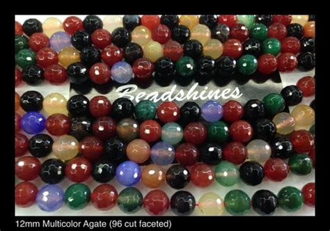 bead store in los angeles multicolor agate 12mm 96 cut faceted 183 beadshines