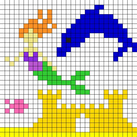 dolphin bead patterns mermaid with dolphin perler bead pattern bead sprites