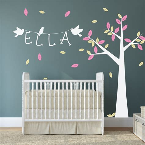 nursery wall name decals nursery tree with name and birds wall stickers by wallboss