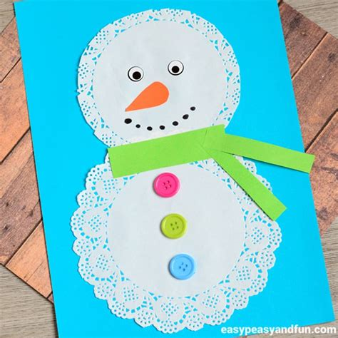 snowman crafts for easy doily snowman craft easy peasy and