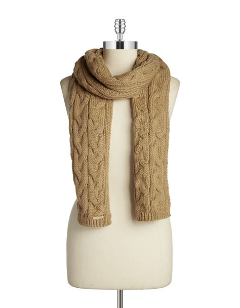 cable knit scarves michael michael kors beige cable knit scarf lyst