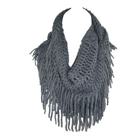fringe on scarf knitting womens fringed knit infinity loop scarf by ctm