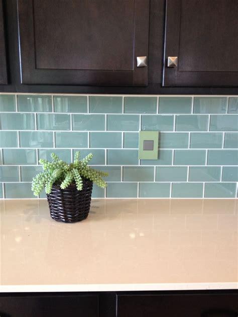 blue green glass subway tile backsplash kitchen