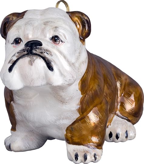brown ornaments bulldog ornament brown and white