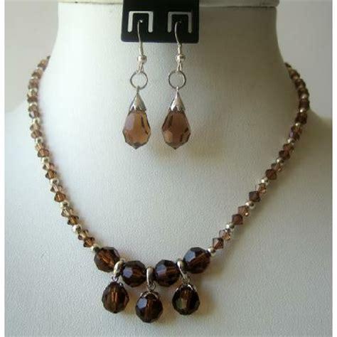 custom jewelry handmade smoked topaz crystals teardrop necklace set