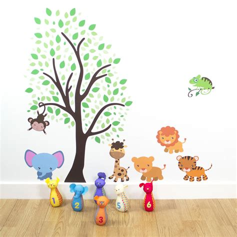 jungle tree wall stickers tree with jungle animals wall sticker by mirrorin