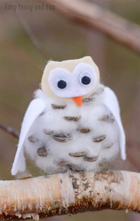 winter kid crafts pinecone winter owls craft easy peasy and