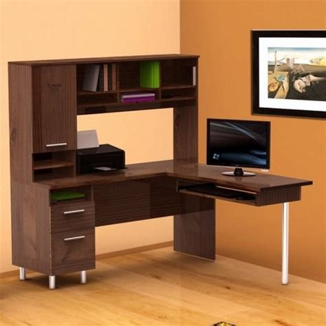 hutch style computer desk corner l shaped computer desk with hutch in orange room