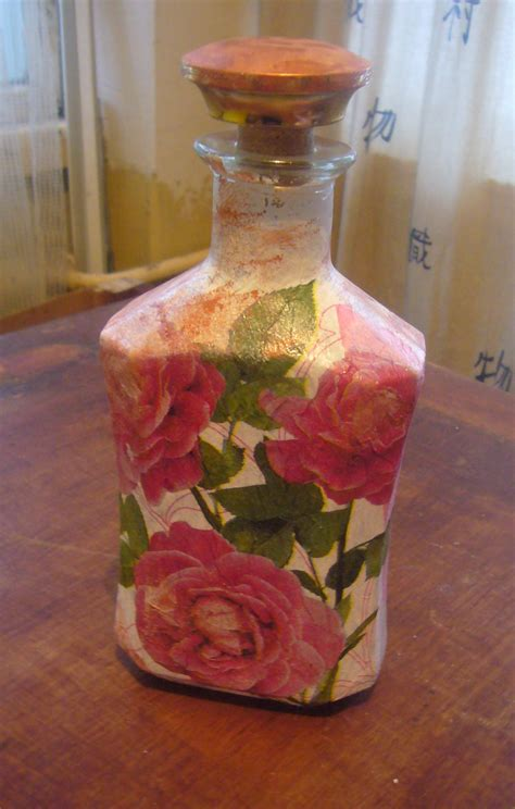 decoupage projects glass bottle decoupage diy crafts decoupage ideas