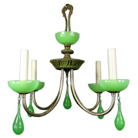 green glass chandelier circa 1930 s green opaline glass chandelier at 1stdibs