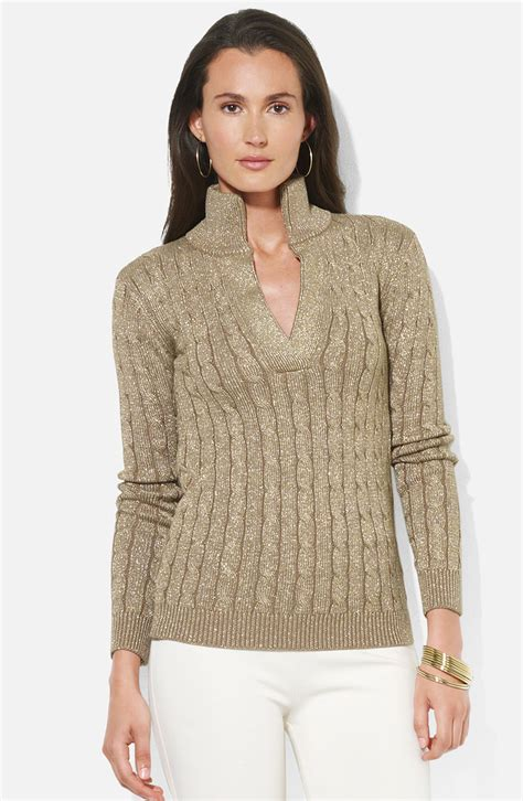 ralph cable knit sweater by ralph shimmer cable knit sweater in gray