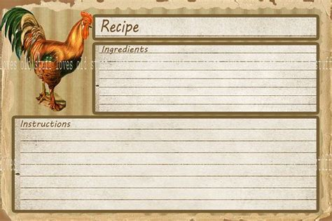 how to make a recipe card rustic rooster recipe cards 4x6 country kitchen recipe