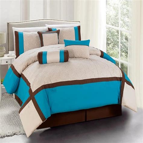 turquoise and brown comforter sets 7 pieces bedding size comforter set odessa